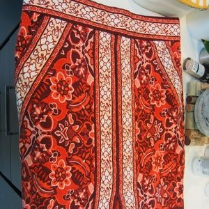 Loft Red Floral Patterned Pencil Skirt with pocket